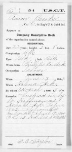 USCT Aaron Brooks Service Record